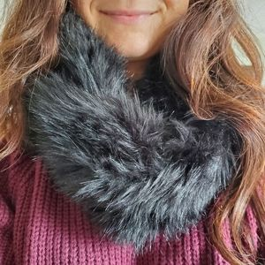 Black Faux Fur Cowl Scarf